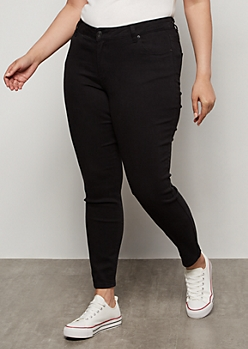 Plus Black Mid Rise Ultra Stretch Jeggings