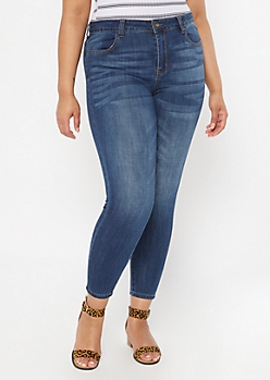 Plus Ultimate Stretch Dark Wash Mid Rise Jeggings in Regular