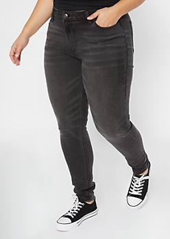 Plus Ultimate Stretch Black Mid Rise Jeggings In Short