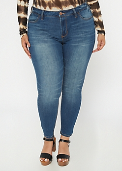 Plus Ultimate Stretch Dark Wash Mid Rise Jeggings In Short