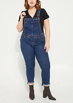 Plus Dark Wash High Low Ankle Length Overalls
