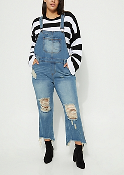 Plus Medium Wash Distressed Straight Leg Overalls