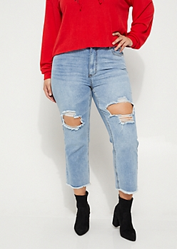 Plus Frayed High Rise Medium Wash Jeans
