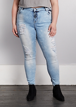 Plus Light Wash Mid Rise Distressed Skinny Jeggings