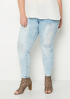 Plus Acid Washed Destroyed Jeggings in Curvy