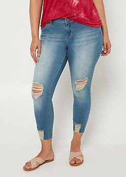 Plus YMI Wanna Betta Butt Distressed Cropped Jeans