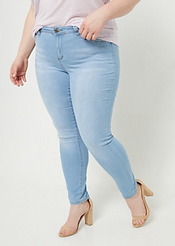 Plus YMI Wanna Betta Butt Light Wash Mid Rise Skinny Jeans