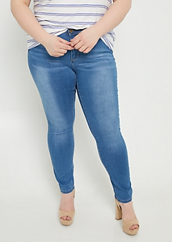 Plus YMI Wanna Betta Butt Medium Wash Mid Rise Skinny Jeans