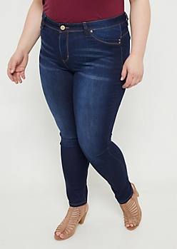 Plus YMI Wanna Betta Butt Dark Wash Mid Rise Skinny Jeans