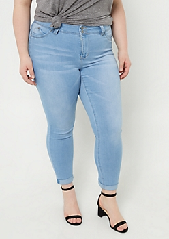 Plus YMI Wanna Betta Butt Light Wash Cuffed Ankle Jeans