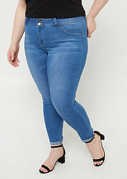 Plus YMI Wanna Betta Butt Medium Wash Cuffed Ankle Jeans