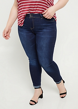 Plus YMI Wanna Betta Butt Dark Wash Cuffed Ankle Jeans