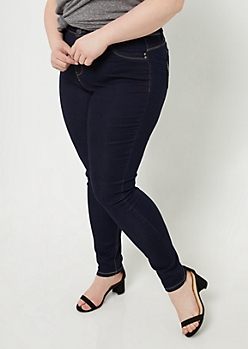 Plus YMI Wanna Betta Butt Dark Rinse Extra High Waisted Skinny Jeans