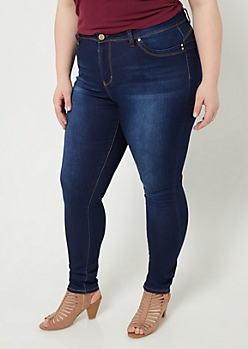 Plus YMI Wanna Betta Butt Dark Wash Extra High Waisted Skinny Jeans