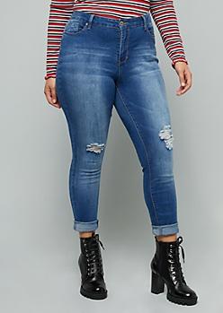 Plus YMI Medium Wash High Waisted Ripped Skinny Jeans