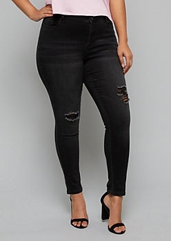 Plus YMI Wanna Betta Butt Black Ripped Knee Skinny Jeans