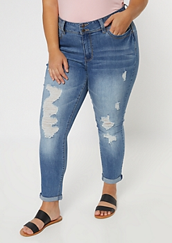 Plus YMI Medium Wash Double Button Ripped Recycled Skinny Jeans