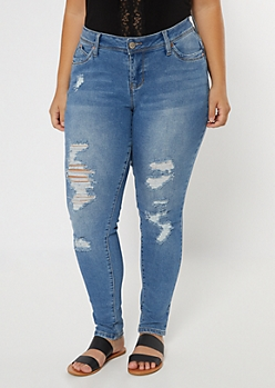 Plus YMI Medium Wash Ripped High Waisted Throwback Jeans