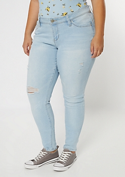 Plus YMI Light Wash Ripped High Waisted Throwback Jeans