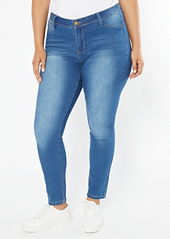 Plus YMI Medium Wash Mid Rise Jeggings