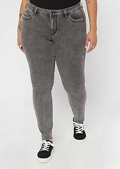 Plus YMI Wanna Betta Butt Gray Novelty Wash Jeggings