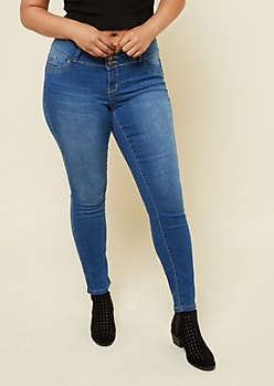 Plus YMI Wanna Betta Butt Medium Wash Triple Button Jeans