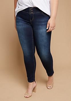 Plus YMI Wanna Betta Butt Dark Wash Triple Button Skinny Jeans