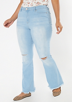Plus Light Wash Frayed Hem Flare Jeans