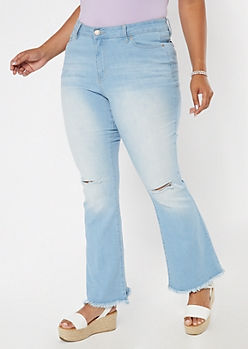 Plus Light Wash Frayed Flare Jeans