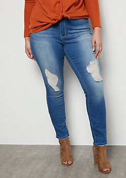 Plus YMI Wanna Betta Butt Medium Wash Distressed Mid Rise Skinny Booty Jeans