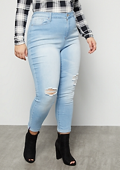 Plus YMI Light Wash Distressed High Waisted Cuffed Ankle Jeans