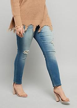 Plus YMI Wanna Betta Butt Medium Wash Ripped Skinny Jeans
