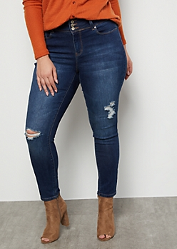 Plus YMI Wanna Betta Butt Dark Wash Distressed High Waisted Booty Jeans