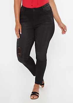 Plus Black Ripped Knee Skinny Jeans
