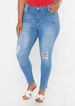 Plus Light Wash Ripped Knee Skinny Jeans