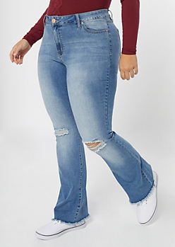 Plus YMI Medium Wash Ripped Knee Flare Jeans