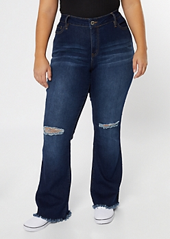 Plus YMI Dark Wash Ripped Knee Flare Jeans