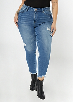 Plus YMI Dream Medium Wash Raw Cut Jeggings