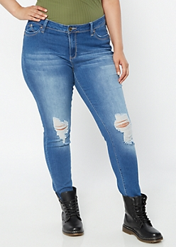 Plus YMI Wanna Betta Butt Medium Wash Ripped Knee Jeggings