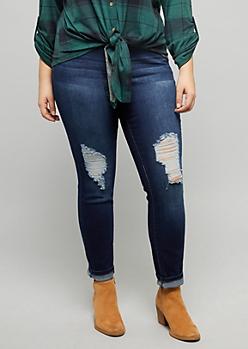 Plus YMI Wanna Betta Butt Dark Wash Ripped Knee Skinny Jeans