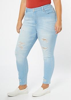 Plus YMI Light Wash Shaping Ripped Hem Skinny Jeans
