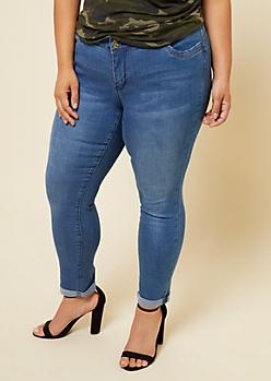 Plus YMI Wanna Betta Butt Light Wash Cuffed Ankle Jeans