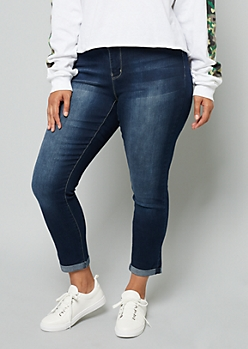Plus YMI Wanna Betta Butt Dark Rinse Double Button Jeans