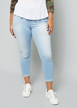 Plus YMI Light Wash High Waisted Shaping Ankle Jeans