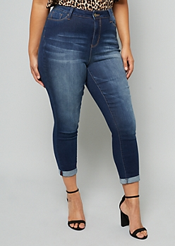 Plus YMI Dark Wash High Waisted Shaping Ankle Jeans