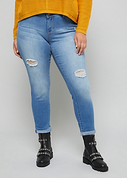 Plus YMI Wanna Betta Butt Medium Wash Distressed Cuffed Ankle Jeans