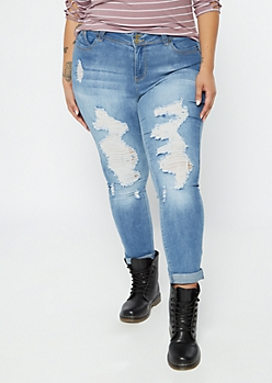 Plus YMI Wanna Betta Butt Medium Wash Ripped Rolled Jeans