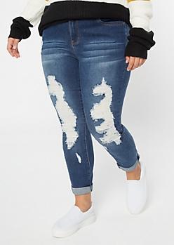 Plus YMI Wanna Betta Butt Dark Wash Ripped Skinny Jeans
