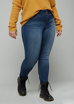 Plus Dark Wash Mid Rise Slim And Shape Jeggings in Curvy
