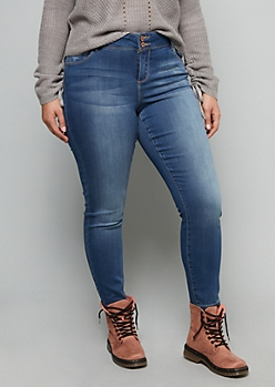 Plus Medium Wash Mid Rise Slim and Shape Skinny Jeggings in Curvy